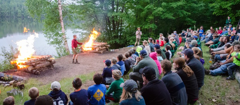 Webelos Campers enjoy an entertaining campfire.
